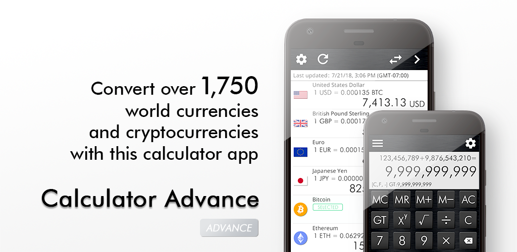 Calculator Advance - Convert over 1,750 world currencies and cryptocurrencies with this calculator app (iOS/Android)